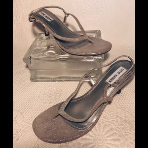 "Steve Madden ""Ventil"" silver metallic thong heels"